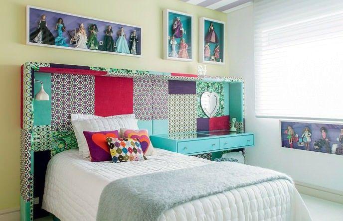 изголовье кровати печворк в интерьере спальни
