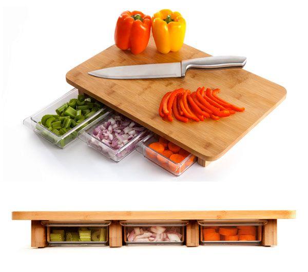 кухонная доска с поддоном для очисток