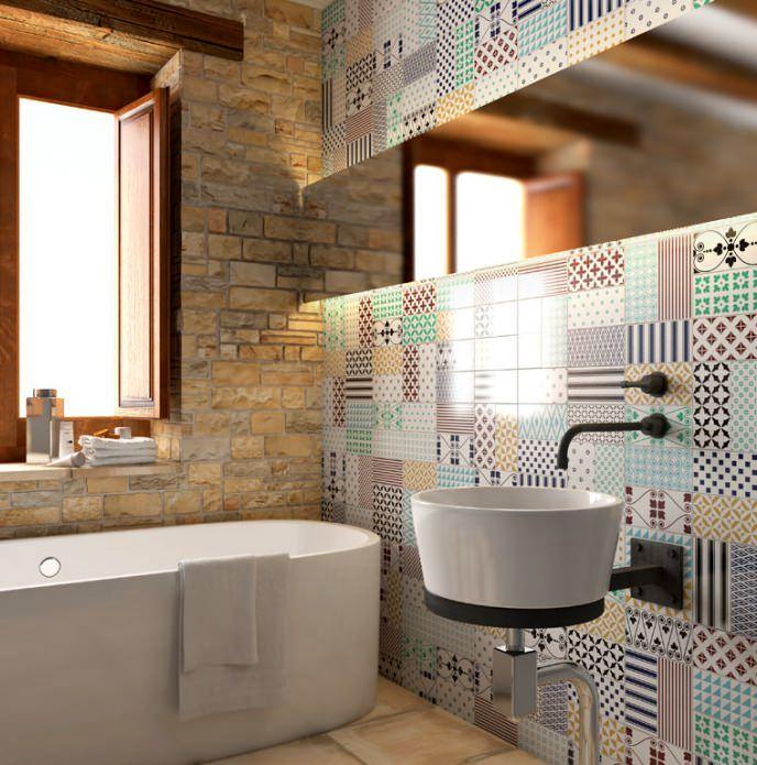плитка в ванной пэчворк