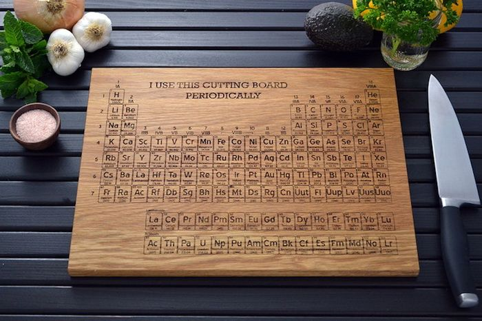 разделочные доски деревяные с шуточной таблицей Менделеева