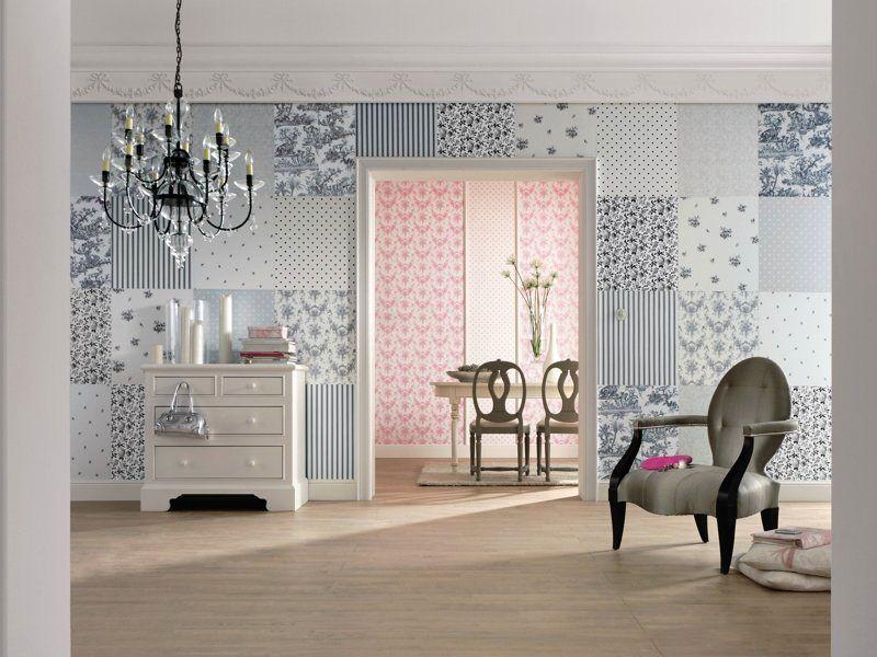 стена в стиле пэчворк из разных обоев