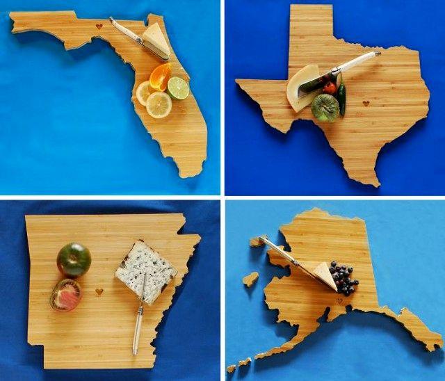 географические деревянные разделочные доски - штаты
