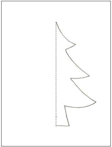 мастер-класс подарочная упаковка с силуэтом елочки - шаблон
