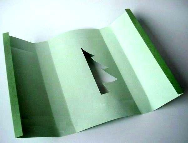 мастер-класс подарочная упаковка с силуэтом елочки шаг 1 с обр стороны