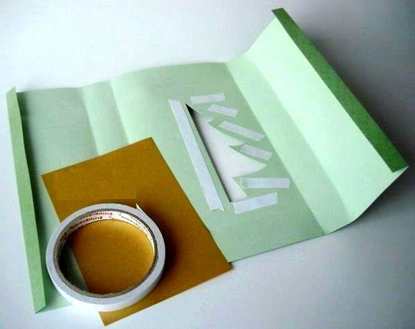 мастер-класс подарочная упаковка с силуэтом елочки шаг 2
