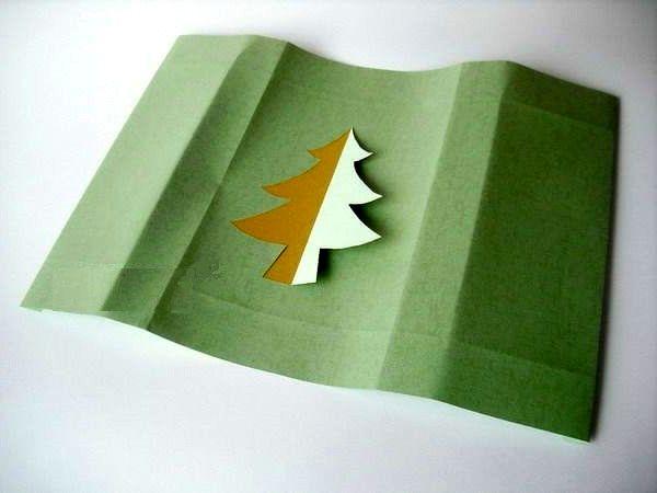 мастер-класс подарочная упаковка с силуэтом елочки шаг 3
