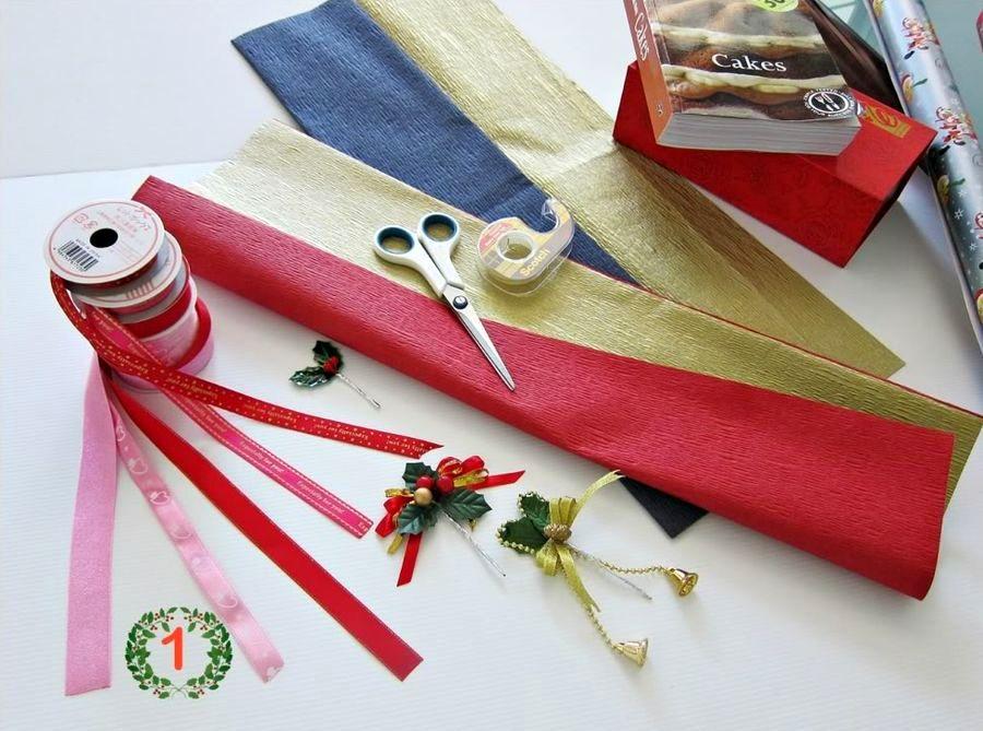 материалы для подарочной упаковки с елочкой