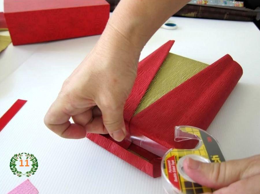 новогодняя подарочная упаковка шаг 5