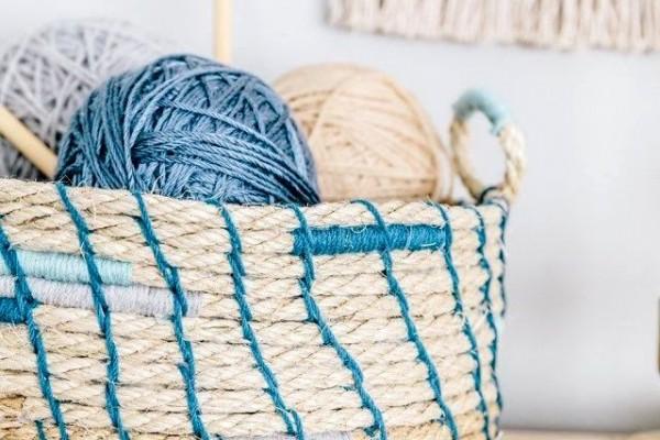 корзина из веревки для вязания и шитья