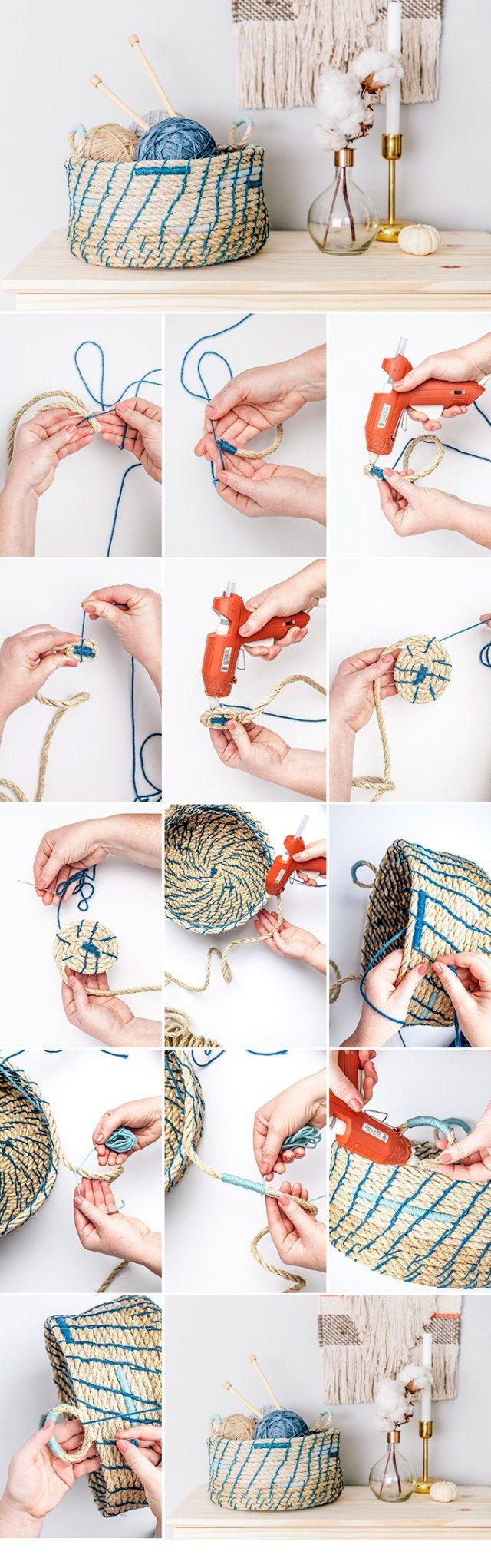 -класс-корзина-из-веревки-своими-руками Корзина для белья своими руками, варианты используемых материалов