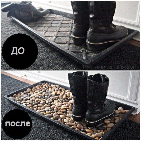 поддон для обуви с речной галькой 06