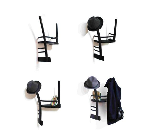 оригинальные полки - вешалки из старых стульев