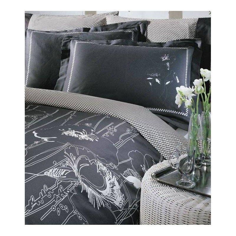 чёрное с белым узором постельное бельё