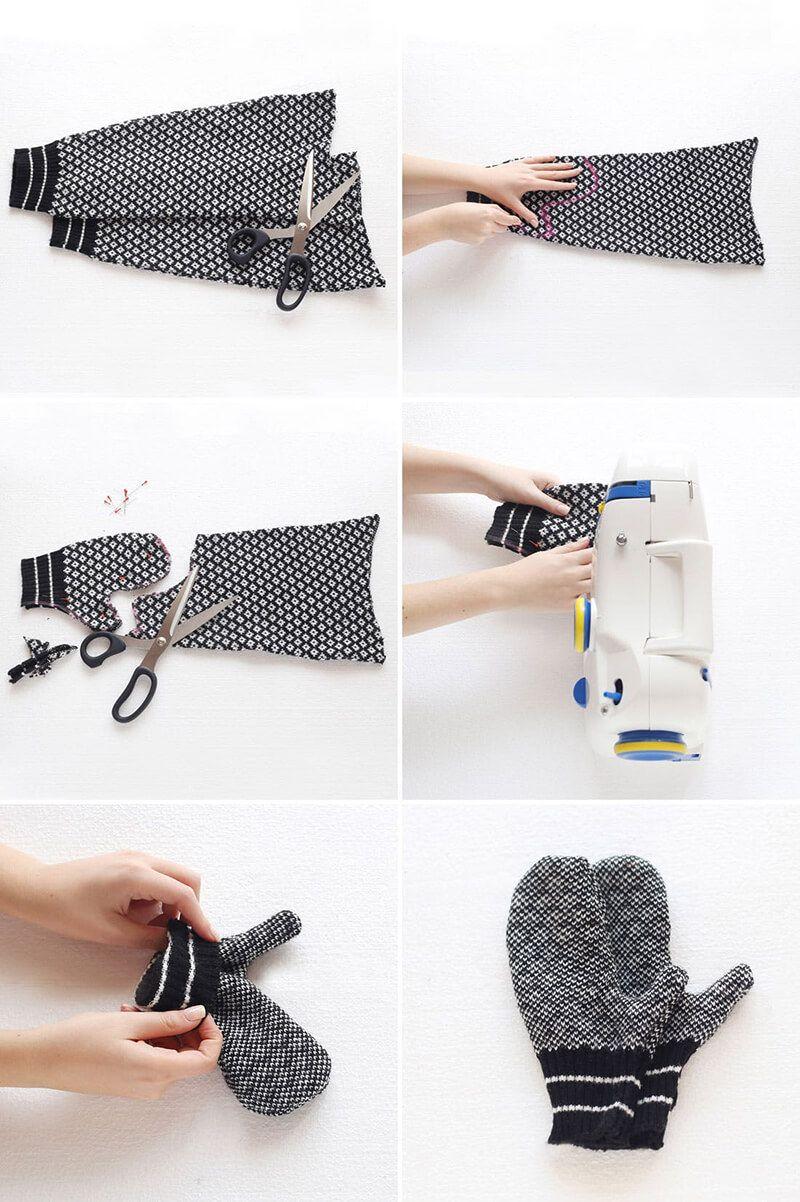 варежки из свитеров