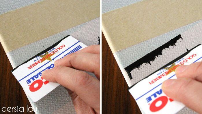 рисуем березы с помощью пластиковой карточки