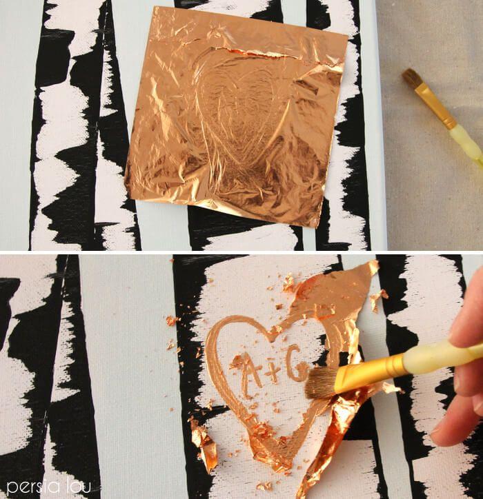 картина березы своими руками золотистые буквы