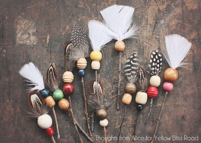 нанизываем бусины на веточку - декоративные стрелы своими руками